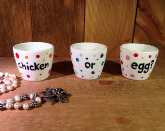 Christmas Egg cups set of 3, colourful polka dots, hand painted, chicken or egg, ready to ship, UK seller