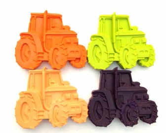 Kids tractor crayons, birthday gift set of wax crayons. Set of 4 farm vehicles.