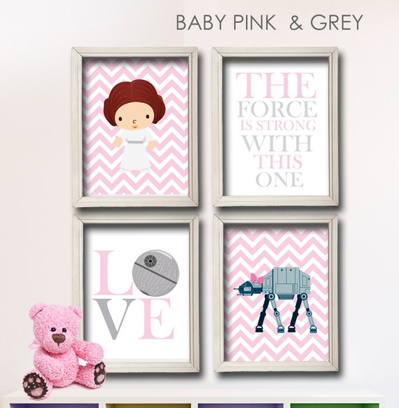 Items similar to baby girl star wars nursery art girl for 007 room decor