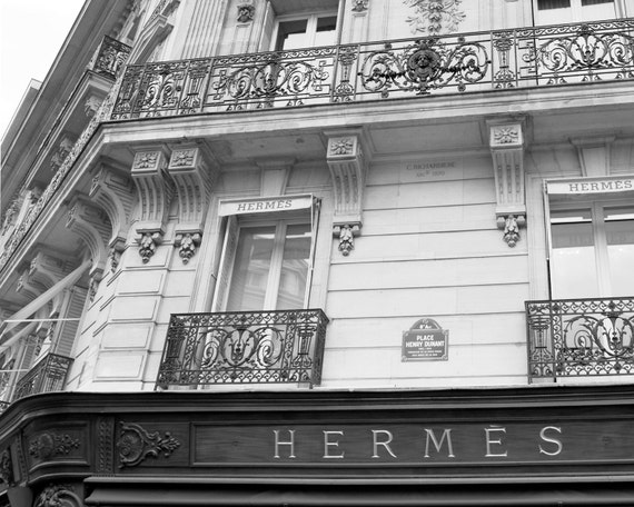 items similar to street photography in paris hermes boutique black white fine. Black Bedroom Furniture Sets. Home Design Ideas