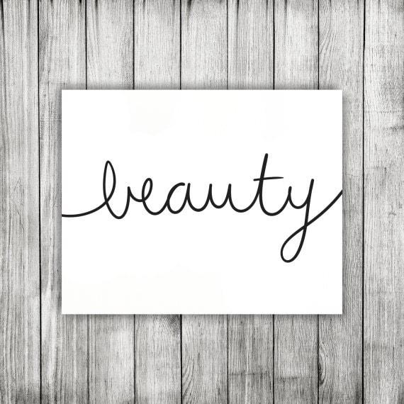 items similar to beauty handwritten word cursive script