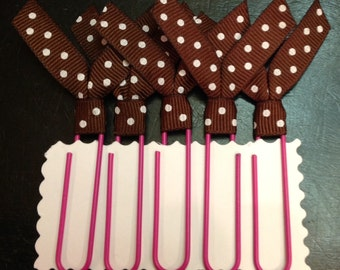 Ribbon Bookmarks, Jumbo Ribbon Paperclips, brown Polka dot, brown pink, Paper Holder, filofax, planner accessory, Teachers, Students Gifts
