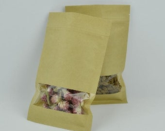 50pcs of Kraft paper zip lock packing bags with window - Small Size