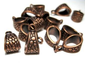 13pcs Antique Copper Bails 14x8mm Metal Beads (lo1)