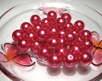 20pcs Glass Pearl Beads Red 12mm Round  R-2