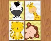 Jungle Animals Nursery Wall Art Decor Giraffe Zebra Monkey Tiger Chevron Grey Yellow Set of 4 8x10 Matte Finish (36)