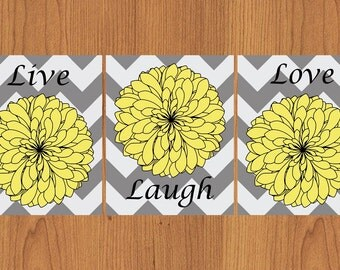 Live Laugh Love Yellow Grey Black Wide Chevron Floral Kitchen Bathroom Bedroom Home Decor Set of 3 8X10 Prints (107)