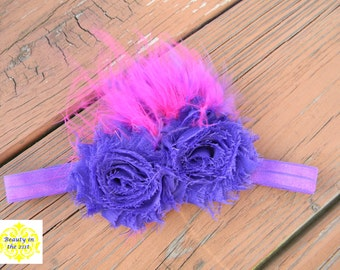 Purple blooms with Pink and Purple Feathers Headband