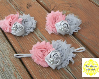 The Charlee - Pink and Gray Headband/Clip with Pearl Accents
