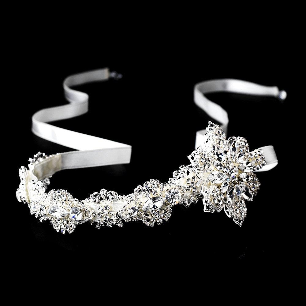 satin ribbon bridal headband bridal rhinestone headband