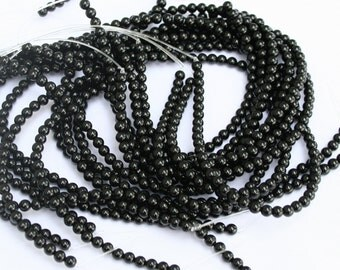 1 Strand Black Agate Gemstone Beads round 4mm, grade A