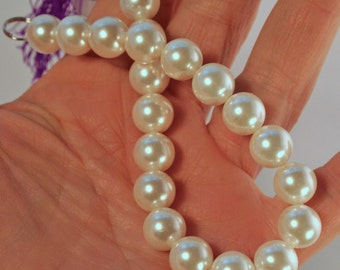 "10mm Ivory White Shell Pearls, 8"" strand, Beautiful, Uniform and High Quality"