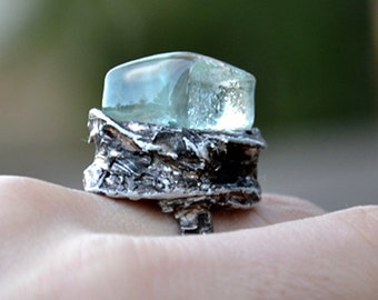 GLASS CUBE, ice crystal ring, minimalist statement ring, adjustable ring, elegant jewelry