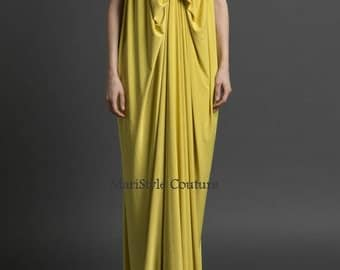 Formal gold dress from italian satin with a silky look made for Loose fitting wedding dresses