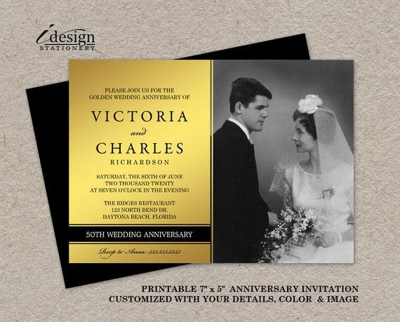 Golden Wedding Anniversary Invitations: Photo 50th Wedding Anniversary Invitation DIY Printable