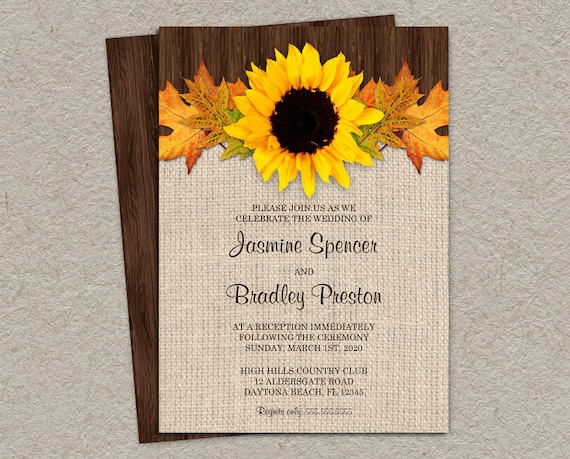 Cheap Sunflower Wedding Invitations: Items Similar To Rustic Fall Wedding Reception Invitation