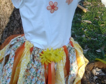 Spring,Summer or Fall colors rag skirt outfit.  Ready to ship immediately in size 8 -10