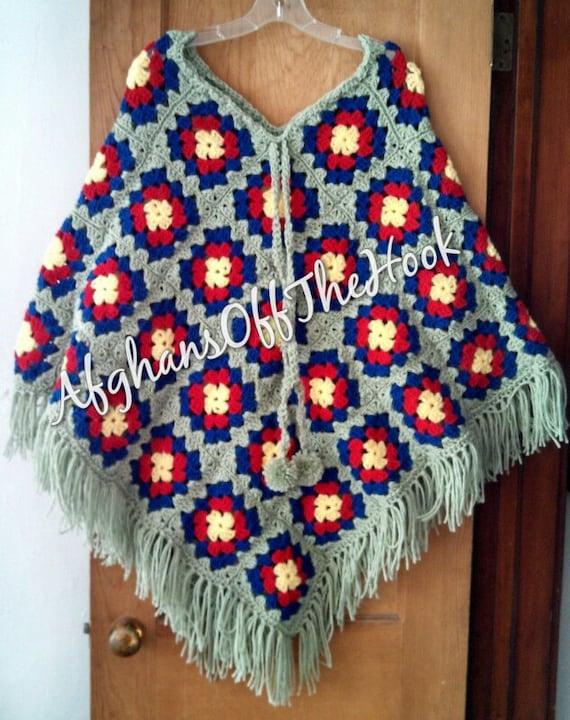Crochet Patterns For Granny Square Poncho : Crocheted Granny Square Poncho