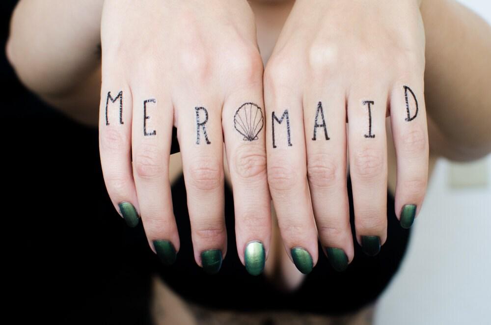 Mermaid finger temporary tattoos for Temporary finger tattoos