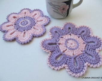 CROCHET COASTERS, Flower Coasters, Crochet Flowers, Pink-Lavender, Gift For Her, Crochet Home Decor, Handmade Crochet, Lyubava Crochet