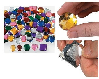 Jumbo Self-Adhesive Jewels 100 Pieces, Adds Color And Sparkling Color To Craft Projects, Jumbo Sized Jewels For Adding Rainbow Hues For Look