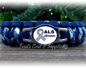 ALS Lou Gehrig's Disease Awareness Paracord Bracelet, Survival Bracelet, Mens Bracelet, Womens Bracelet, Childs Bracelet