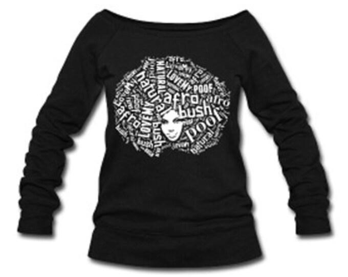 Love My Afro Wide Neck Off Shoulder Slouchy Women's Sweatshirt - Black