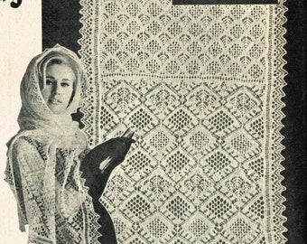 Lace evening stole ladies shetland lace vintage knitting pattern PDF instant download