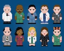 Scrubs TV Characters - Digital PDF Cross Stitch Pattern