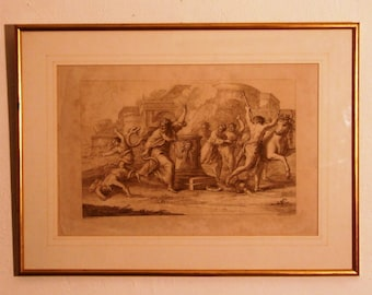 Bartolozzi 18c engraving after Pietro da Cortona antique print art  Laocoon Sons 1765 Serpent Trojan Mythology Freight extra cost