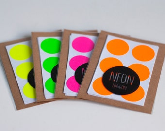 24 Neon/Fluorescent circle/dot stickers - 19mm diameter - Available in 4 colours - Pink, Green, Orange, Yellow