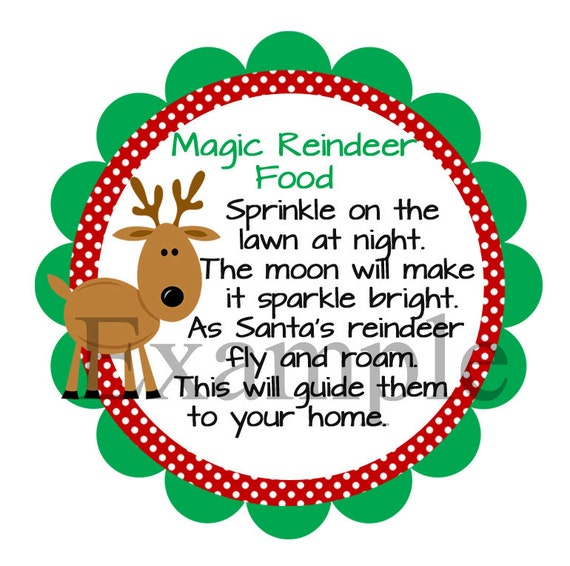 Reindeer Food Template Magic Reindeer Food Labels - deer Food - Magic ...