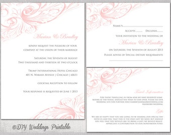 "Pink Wedding invitation set templates ""Vintage Scroll"" printable wedding invitations suite YOU edit digital instant Download - print at home"