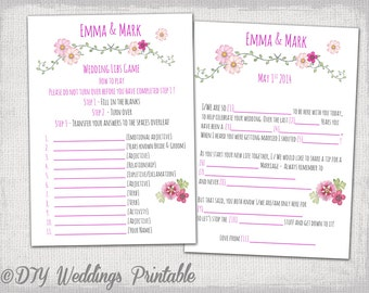 """Wedding Mad Libs template pink wedding libs printable guest card """"Folk festival"""" Marriage Mad libs wedding game - YOU EDIT instant download"""