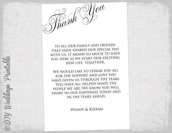 Printable Thank You Card Template Black & White Wedding Thank