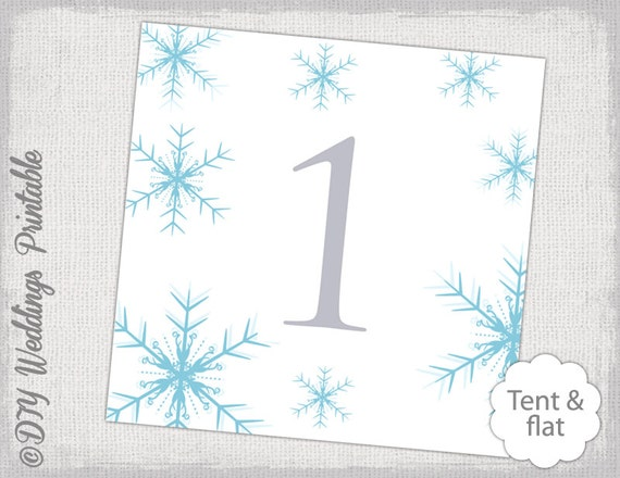 Snowflake Wedding Table Number Template Diy Pool Blue