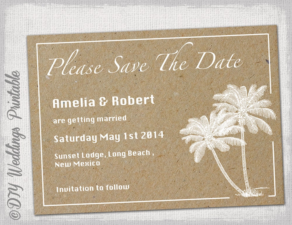 diy save the date magnets template - beach save the date templates diy destination palm
