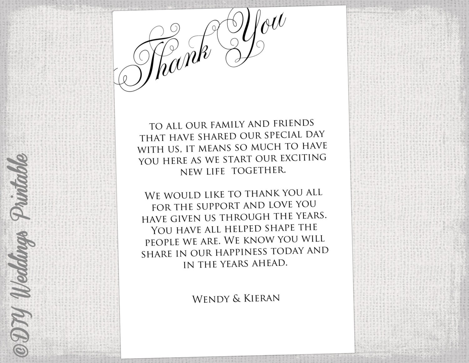 printable thank you card template black white wedding thank. Black Bedroom Furniture Sets. Home Design Ideas