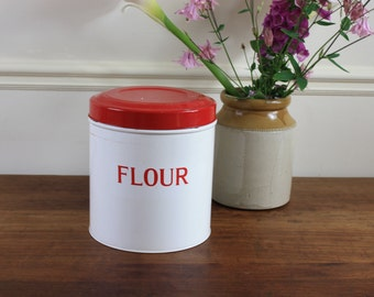 SALE Large Vintage Tala hinged Flour Tin - Red and White