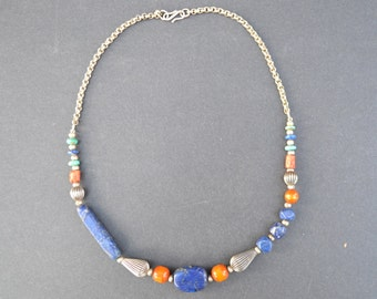 Vintage India Tribal Necklace from Rajashtan State - Semi Precious Stone and Silver