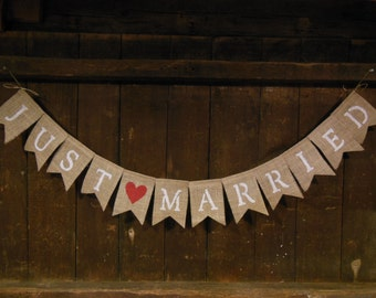 Just Married Burlap Banner, Just Married Bunting Garland, Burlap Banner, Wedding Decor, Shower Decor, Photo Prop, Barn Country Rustic