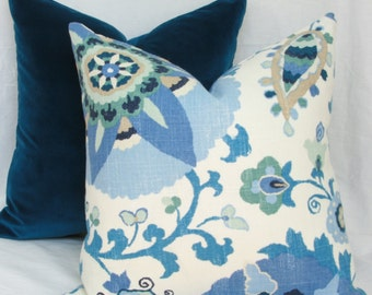 """Indigo blue suzani decorative throw pillow cover. 18"""" x 18"""". 20"""" x 20"""". 22"""" x 22"""". 24"""" x 24"""". 26"""" x 26"""". lumbar sizes. Accent pillow."""
