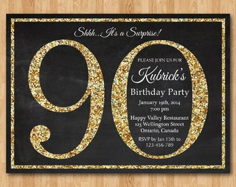 90th birthday invitation. Gold Glitter Birthday Party invite. Adult Surprise Birthday. Elegant. Printable digital DIY.