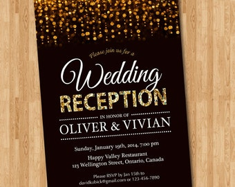 Wedding Reception Invitation Chalkboard Reception Invite