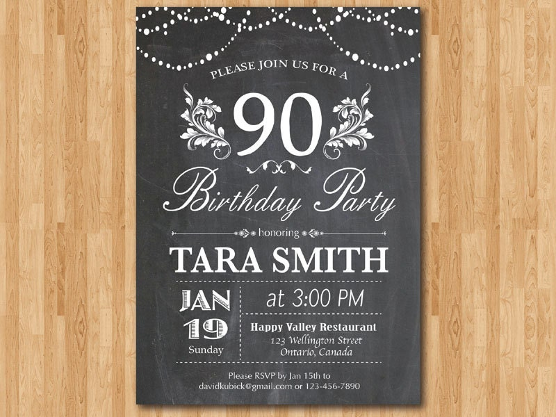 90th birthday invitation chalkboard surprise birthday floral - Invitation anniversaire surprise ...