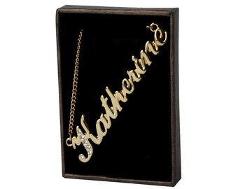 Name Necklace Katherine - Gold Plated 18ct Personalised Necklace with Swarovski Elements
