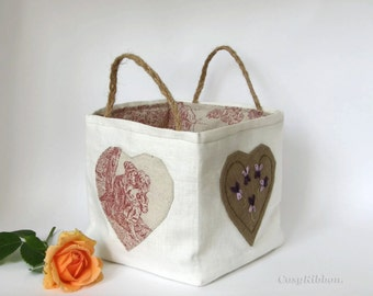 Linen Storage Basket , Linen Organizer Bin , Fabric Basket , Ivory Linen and French Toile of Jouy