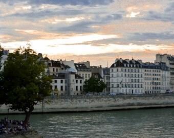 Paris Photography, Paris Photo, French Decor, Paris Decor, Ile St Louis at Dusk, Seine