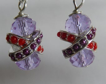 Earrings crystals bling red purple Red Hatters, dazzling, glitter, fashionable,unique, individual,