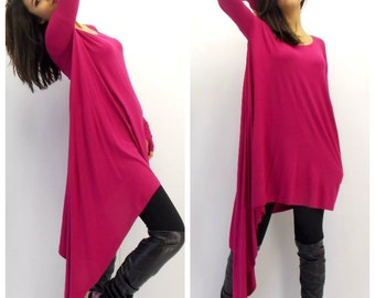 Dark Fuchsia Loose Tunic, Plus Size Tunic Dress, Loose Tunic, Oversize Top TT02 by TEYXO